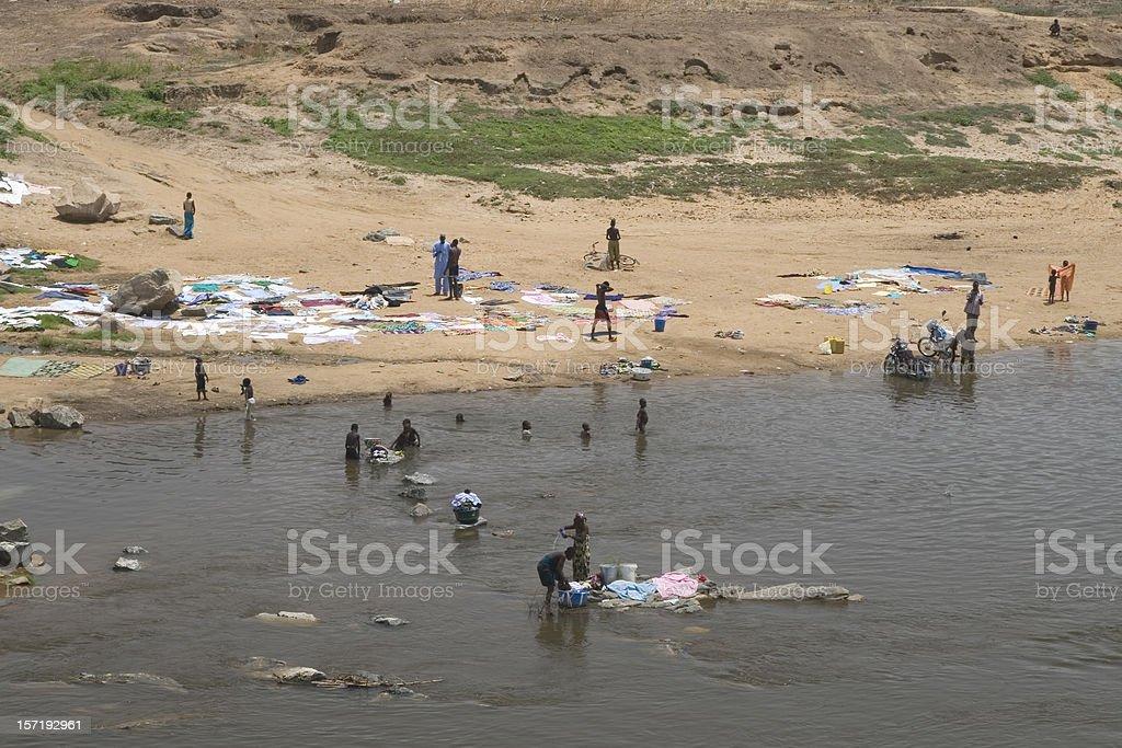 African way of washing stock photo