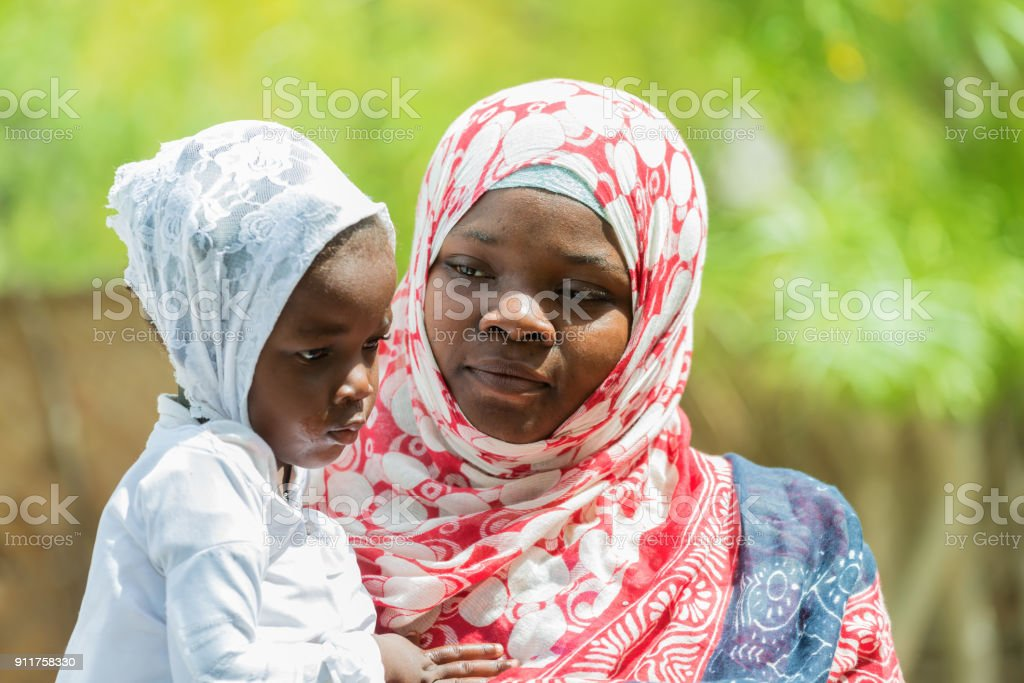 African woman and child stock photo