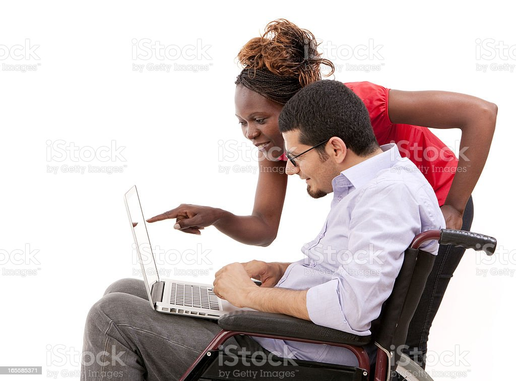 African woman and disabled businessman royalty-free stock photo