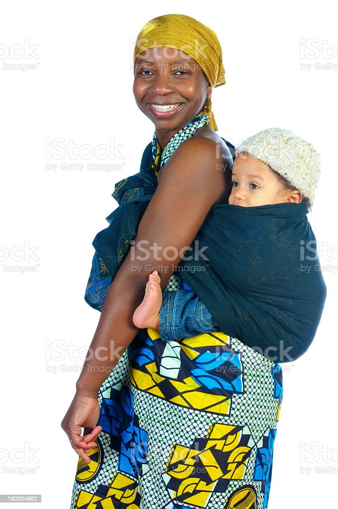 African Woman Carrying A Baby On Her Back stock photo