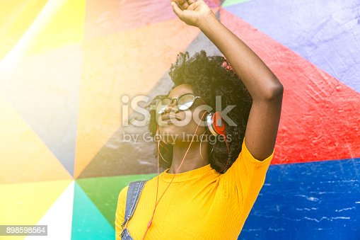 istock African woman dancing to her favorite song 898598564