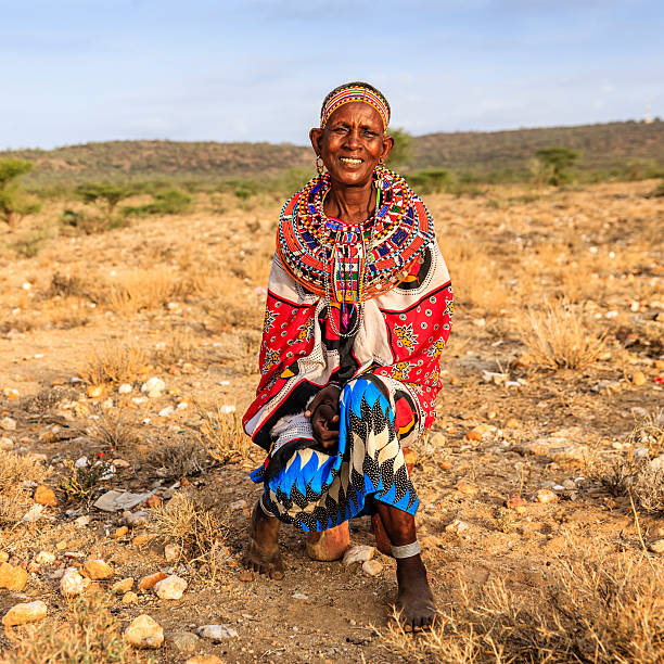 African woman from Samburu tribe, Kenya, Africa stock photo