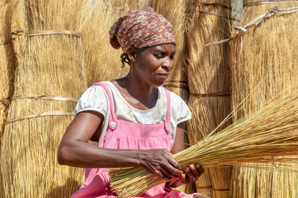 African woman in the village carrying grass
