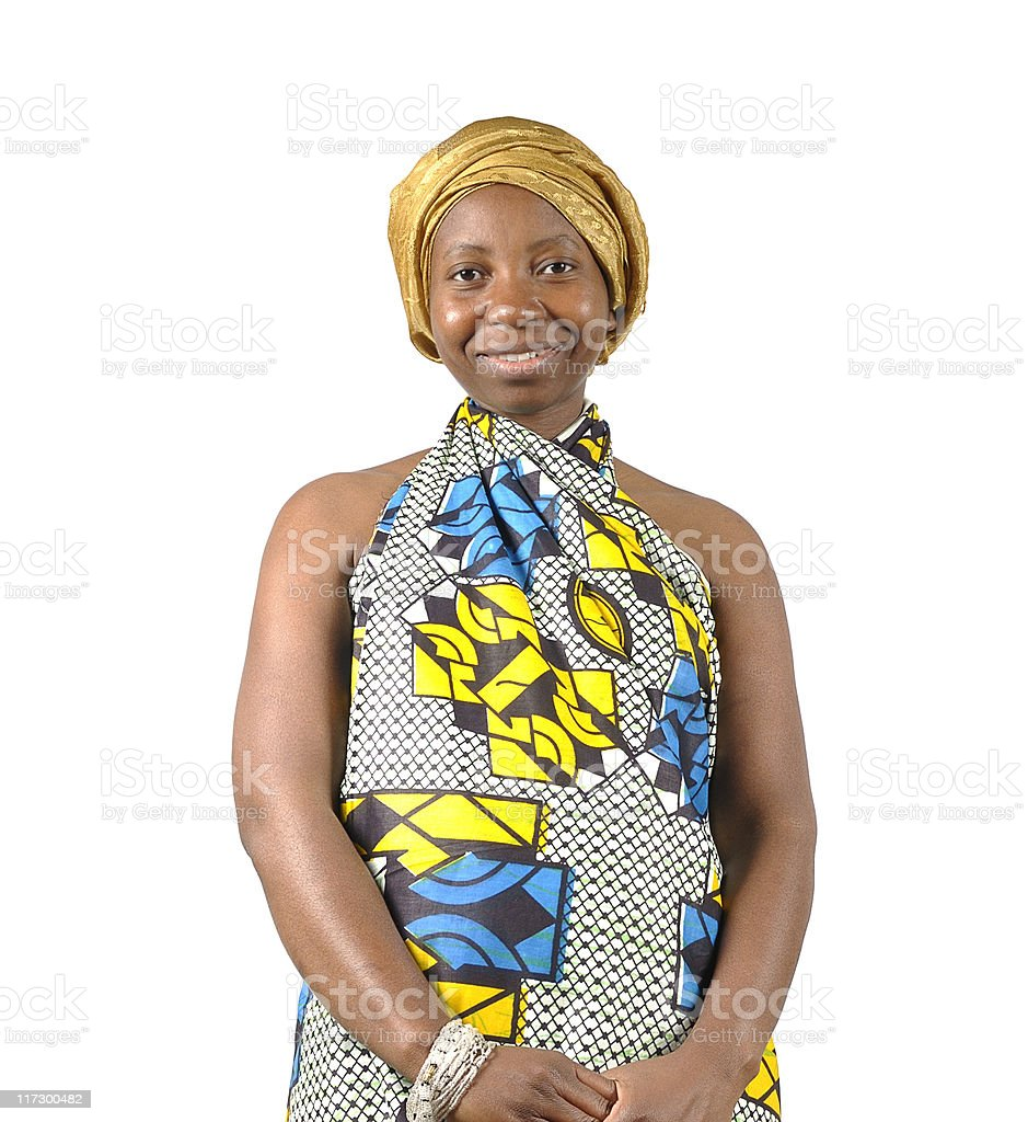 African Woman in Traditional Attire stock photo