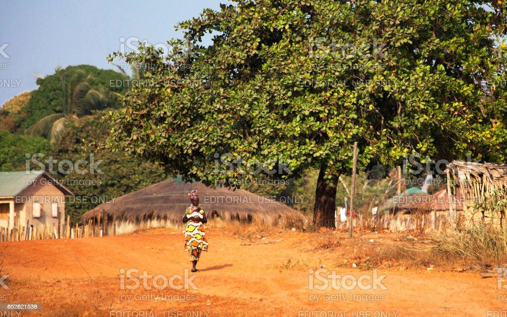 African woman - Kartong, The Gambia. stock photo