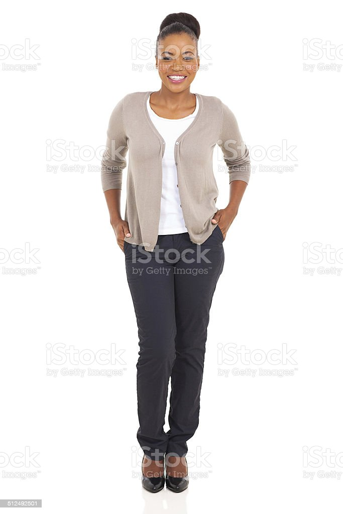 african woman posing in trendy style stock photo