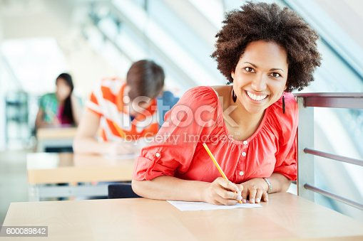 istock African woman sitting at an exam in college 600089842
