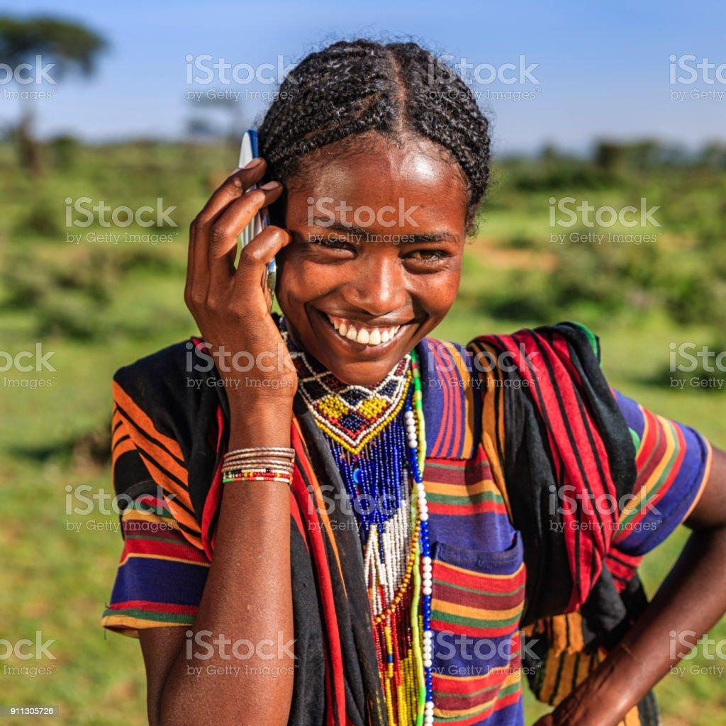 African Woman Using Mobile Phone Village Near Lalibela