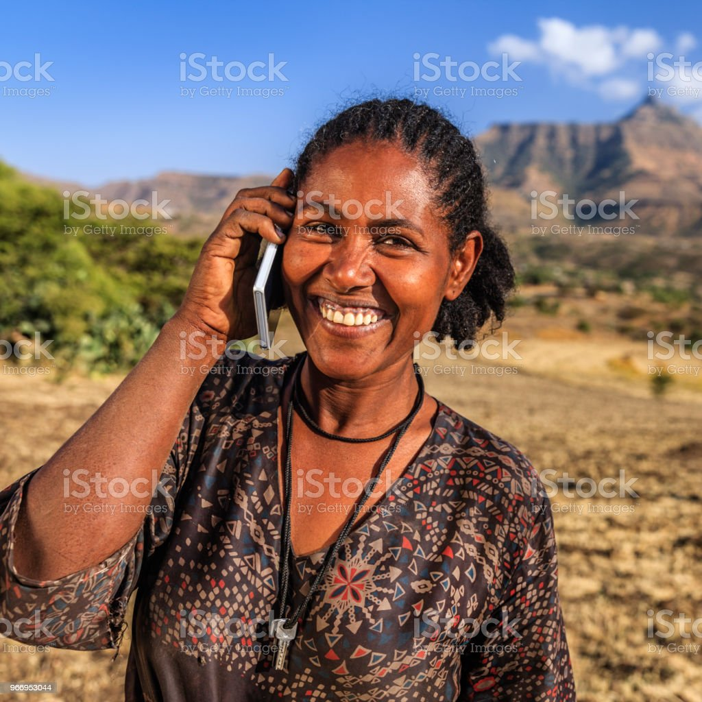 African Woman Using Mobile Phone Village Near Lalibela Ethiopia Stock Photo  - Download Image Now