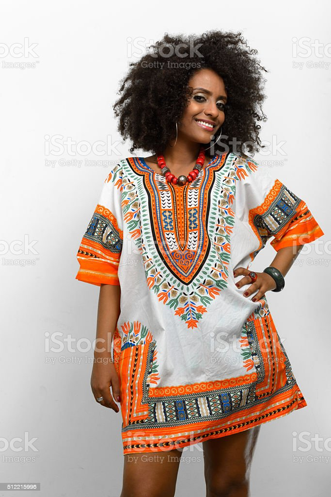 African Woman Wearing Traditional Dress Stock Photo