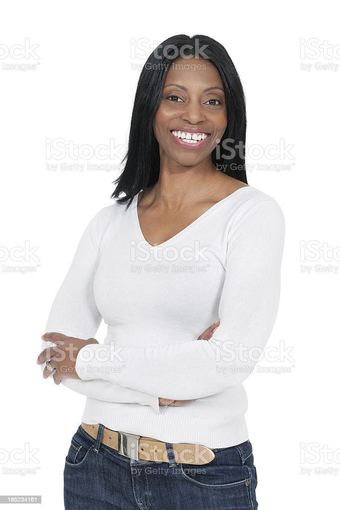 African Woman With Arms Crossed stock photo