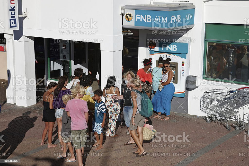 African women at ATM in Cape Town stock photo