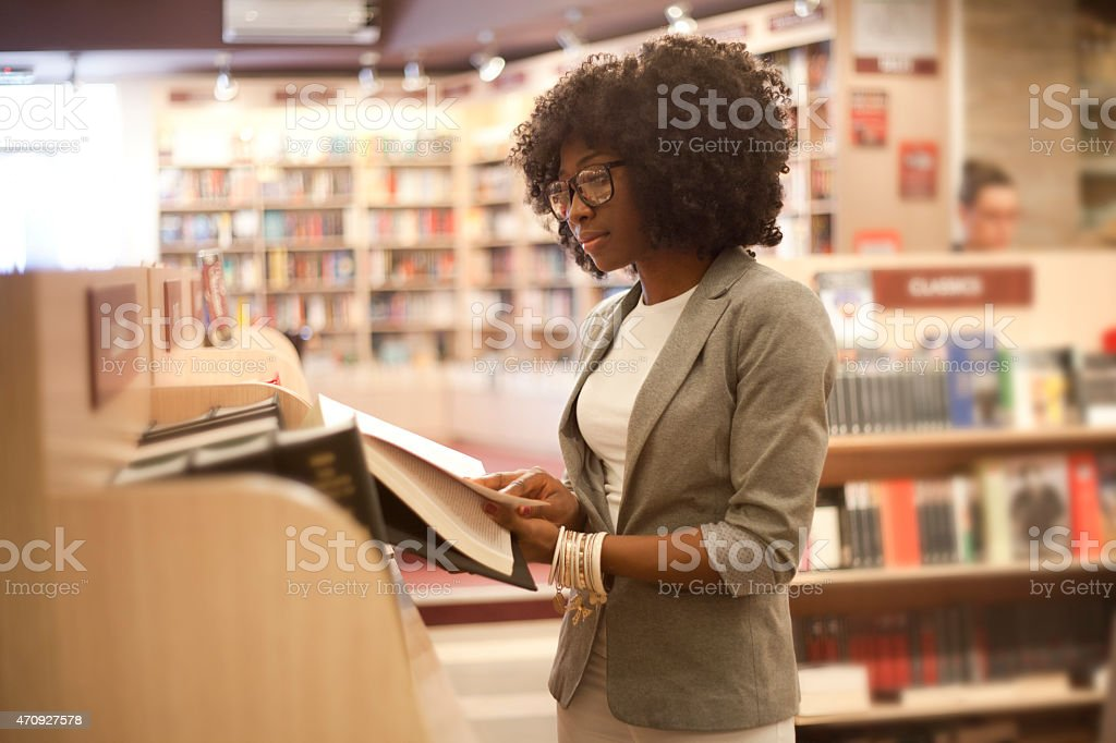 African women at bookstore stock photo