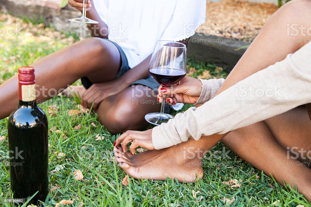 African women on the lawn drinking wine. stock photo