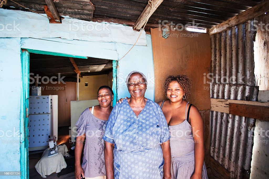 African Women outside their Home stock photo