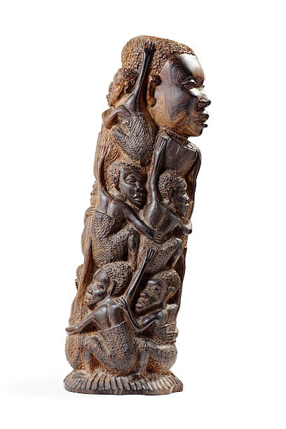 African Wooden Figurine Half-Face stock photo