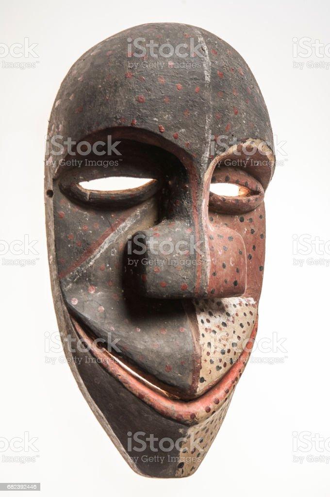 African wooden mask of angola, bakama, isolated on white background royalty-free stock photo