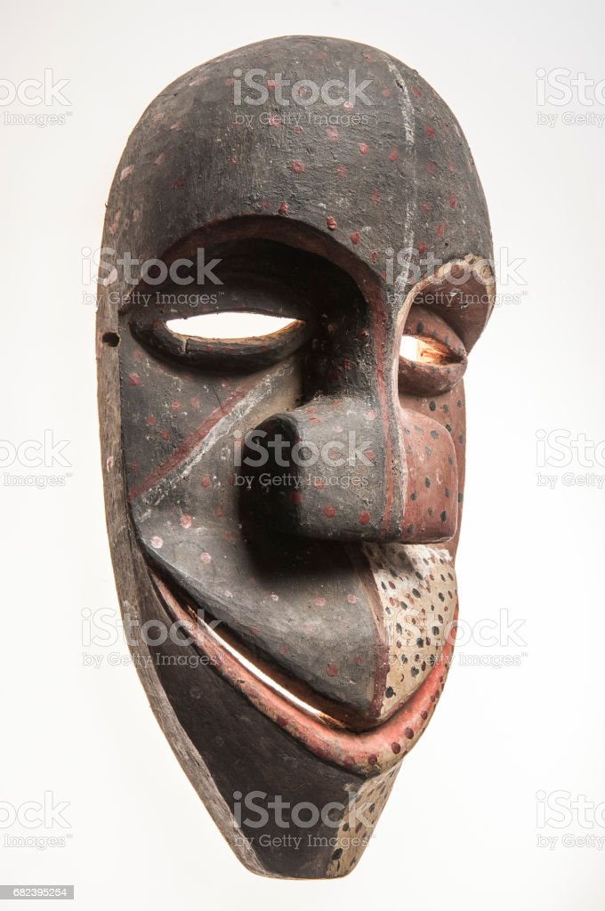 African wooden mask of angola, bakama, isolated on white background foto stock royalty-free