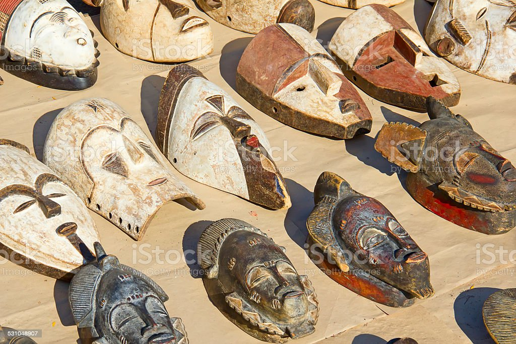 African wooden masks stock photo