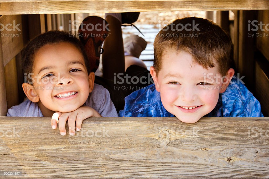 African-American child and caucasian child playing together on...