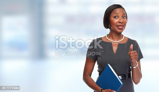 istock African-American business woman. 617777434