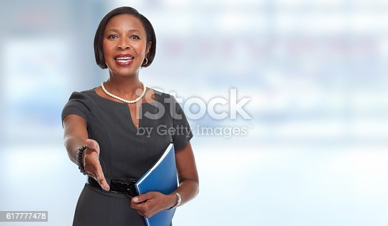 istock African-American business woman. 617777478