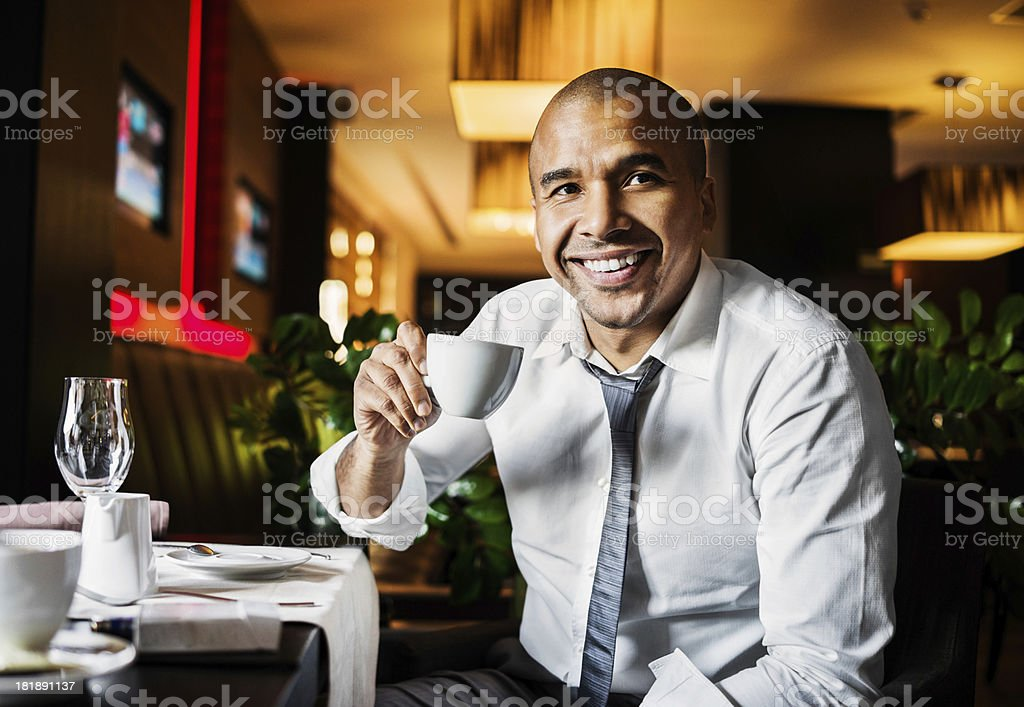 African-American businessman on a coffee break. royalty-free stock photo