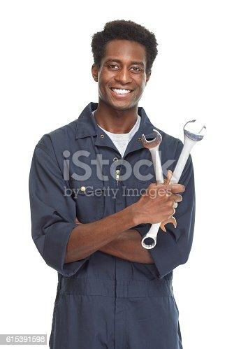 istock African-American car mechanic. 615391598
