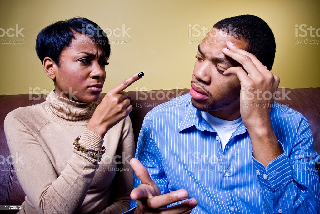 African-American couple arguing stock photo
