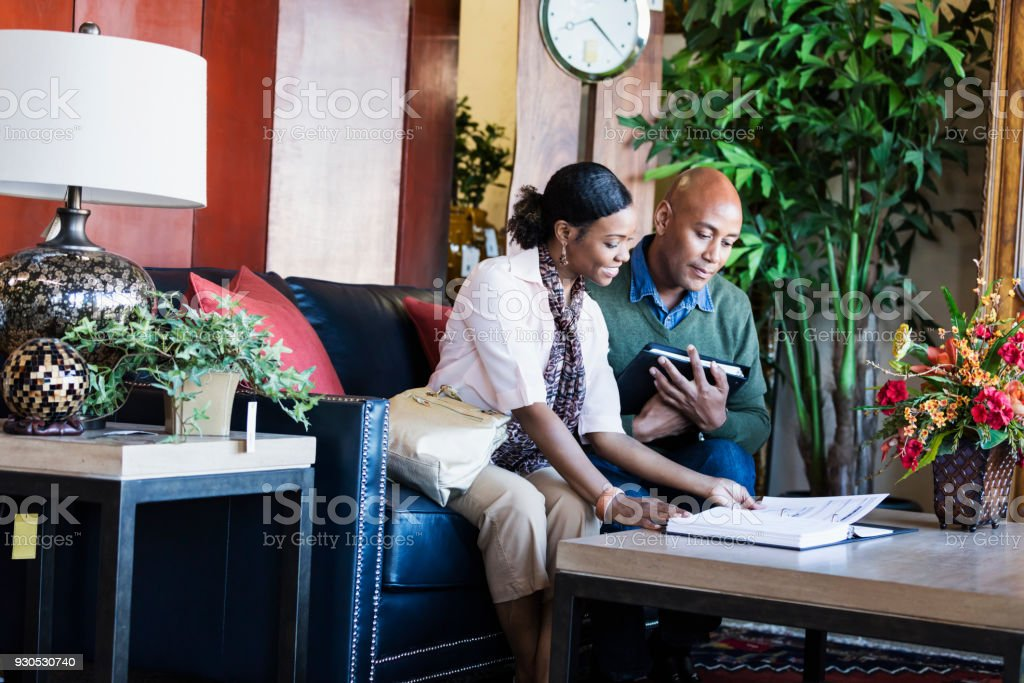 African American Couple Shopping In Furniture Store Royalty Free Stock Photo