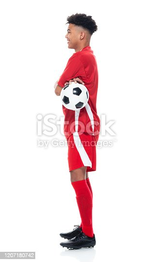 istock African-american ethnicity young male athlete standing in front of white background wearing soccer uniform and holding soccer ball and playing soccer - sport and using sports ball 1207180742