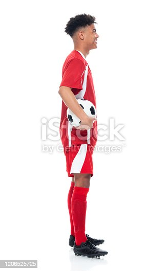 istock African-american ethnicity young male athlete standing wearing soccer uniform and holding soccer ball and playing soccer - sport and using sports ball 1206525725