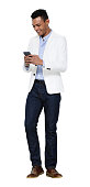 istock African-american ethnicity young male standing in front of white background wearing button down shirt and using smart phone 1208840904