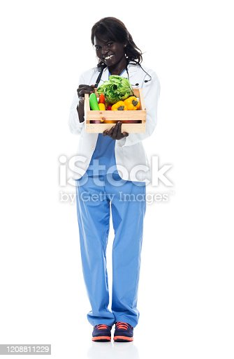 istock African-american ethnicity young women doctor standing in front of white background wearing lab coat and holding basket 1208811229
