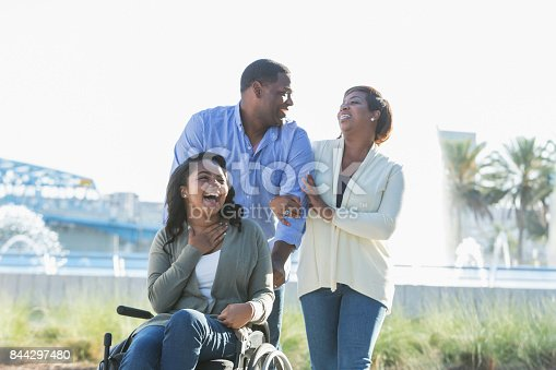 istock African-American family, daughter in wheelchair 844297480