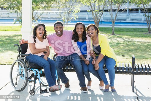 istock African-American family, daughter in wheelchair 844299774