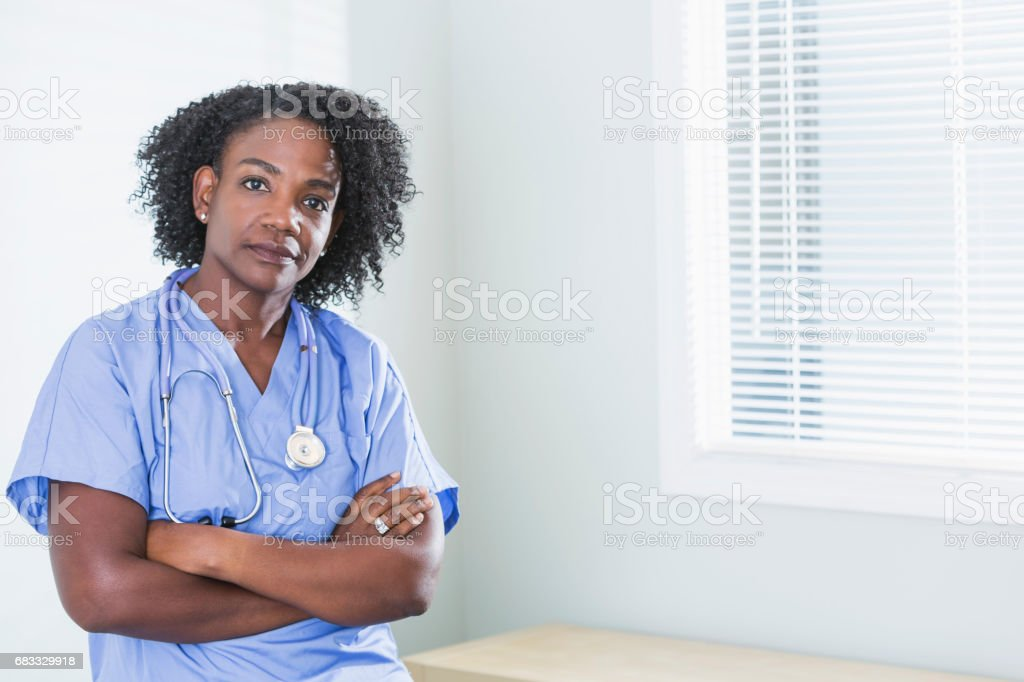 African-American female doctor or nurse stock photo