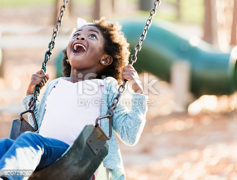 istock African-American girl on a swing 920728262