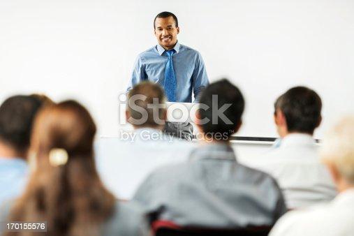 istock African-American man having a public speech. 170155576