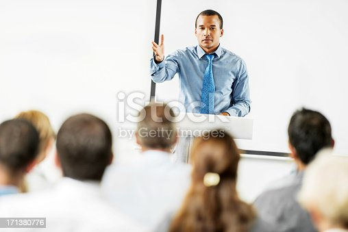 508658652istockphoto African-American man having a public speech. 171380776