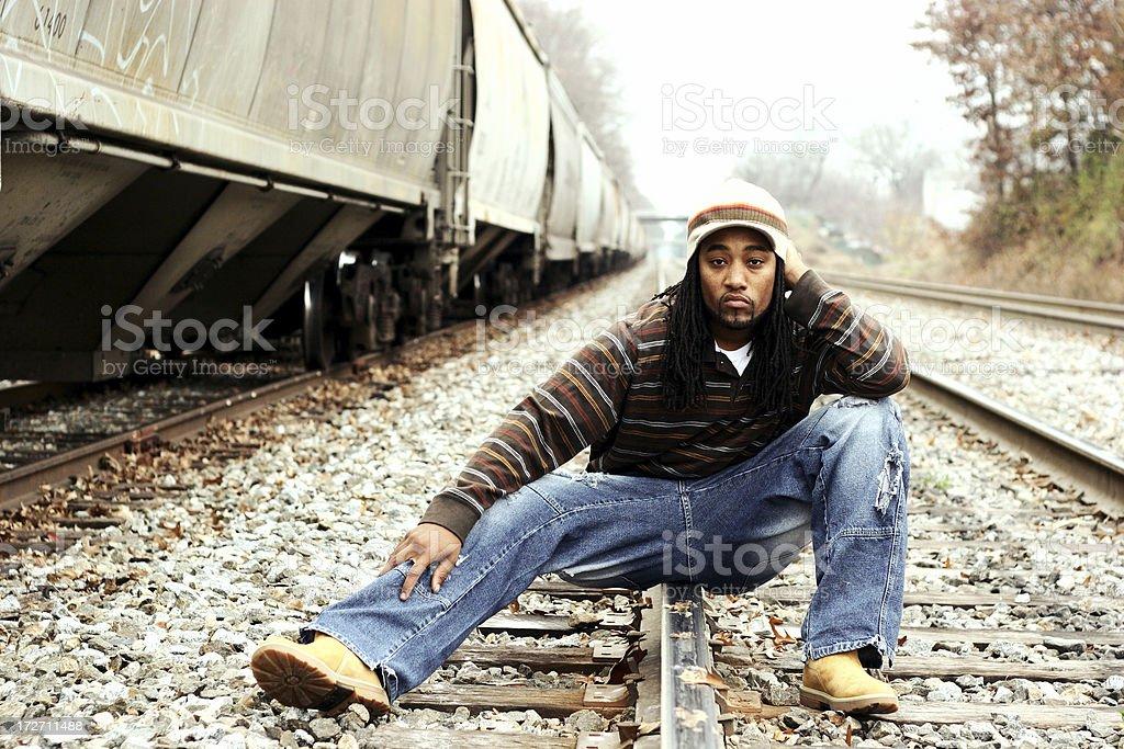 \'African-American man on railroad tracks in Raleigh, North Carolina\'