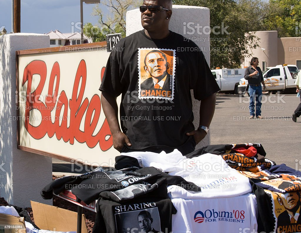 African-American Man Selling Obama T-Shirts Near Rally, New Mexico stock photo