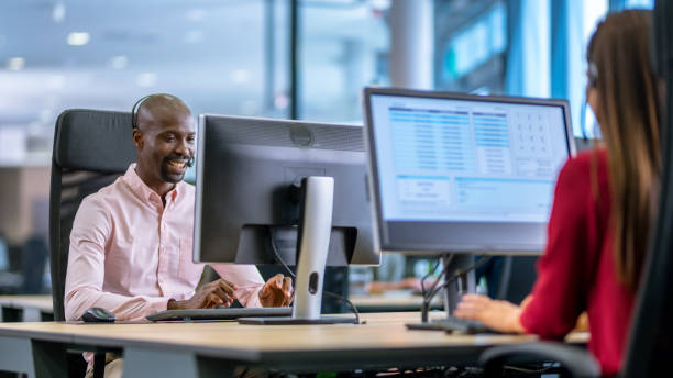 African-American man working as a call centre employee