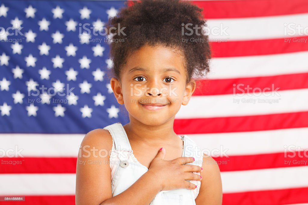 African-American patriotic girl stock photo