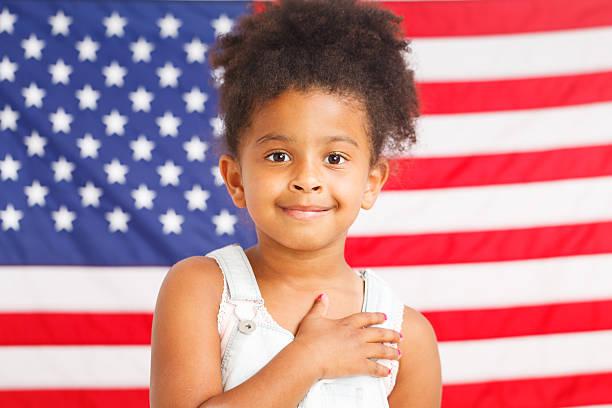 African-American patriotic girl – Foto