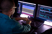 istock African-american producer working on music track on sound mixer control panel in music studio 1267511682