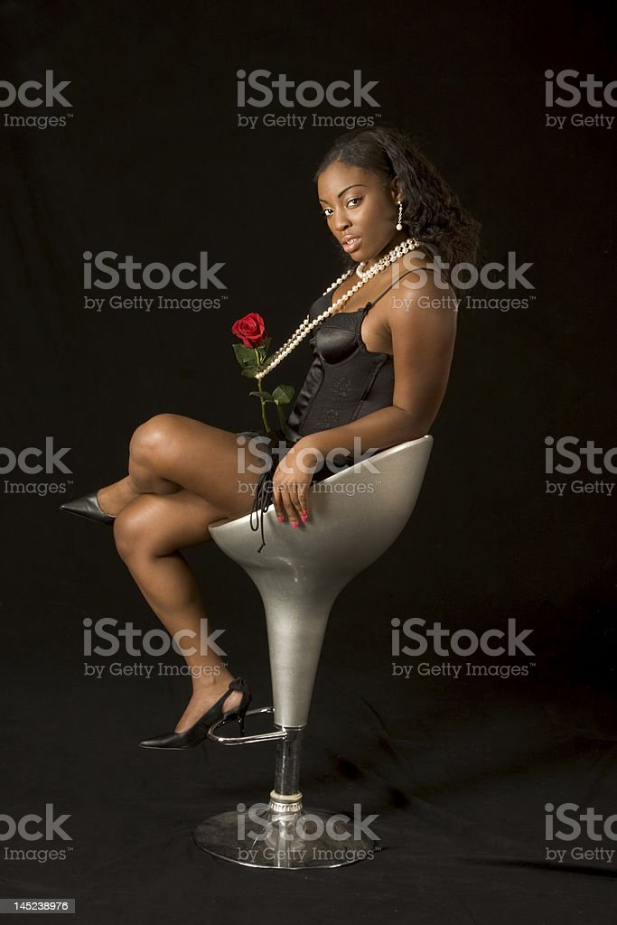 African-American  sexy girl with rose royalty-free stock photo