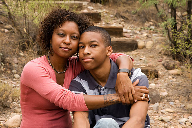 African-American single-parent family stock photo
