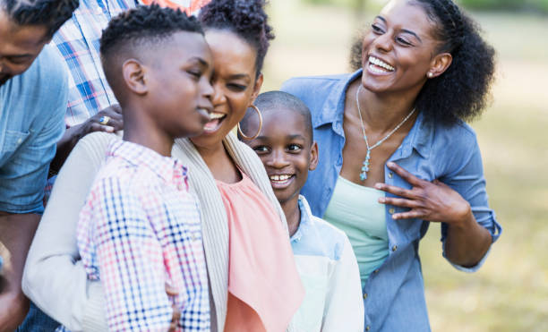 African-American sisters and their sons stock photo
