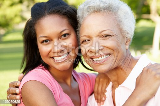 istock African-American woman and senior at park 155070625